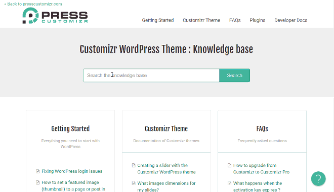 customizr theme feature documentation