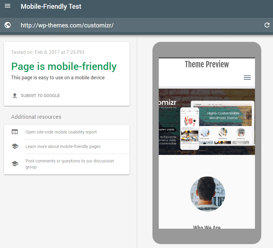 customizr theme feature mobile_friendly