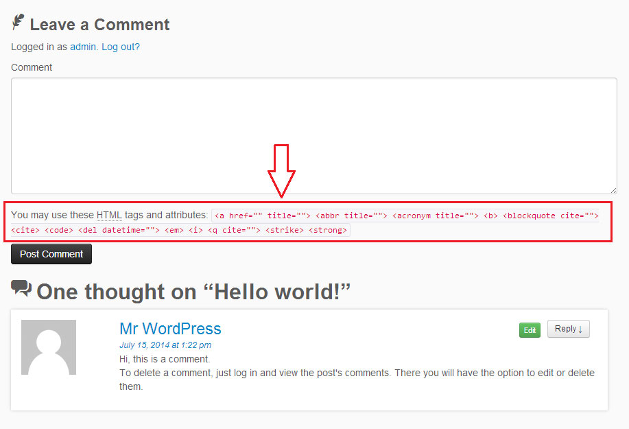 Removing The Allowed Html Tags And Attributes Note After The Comment Form In Wordpress Press Customizr