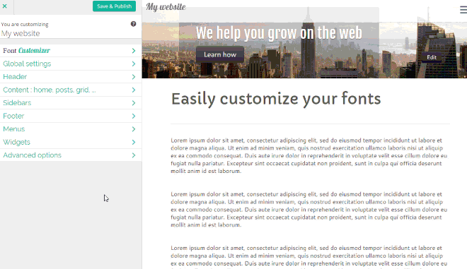 Customizr Pro theme feature font-customizer