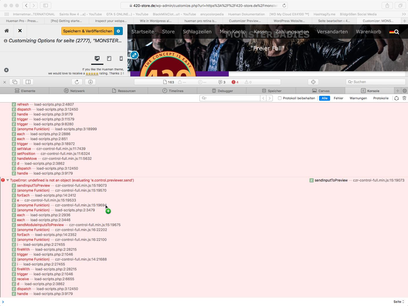 Screenshot JavaScript Console WP Hueman Pro 02 – Press Customizr